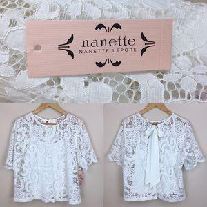Nanette Lepore White Lace Top NWT